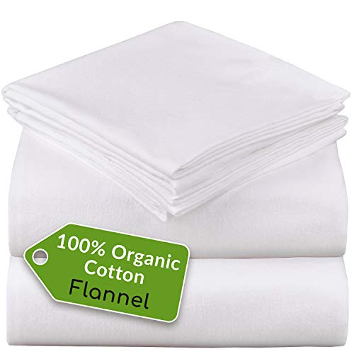 Mellanni 100% Organic Cotton Flannel Sheet Set - Heavyweight 180GSM 4 pc Luxury Bed Sheets - Cozy, Soft, Warm, Breathable Bedding - Deep Pockets - All Around Elastic (King, White)