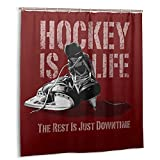Hockey is Life Simple Popular Shower Curtains Waterproof Durable for Modern Home Bathroom Bathtub Curtains Decorations Washable