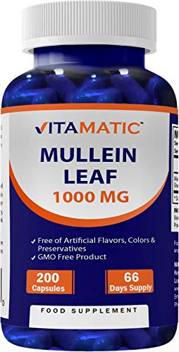 Vitamatic Mullein Leaf 1000mg per Serving 200 Capsules