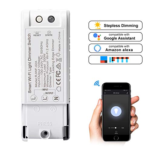 Powstro WiFi Dimmer Switch, Dimmer Switch módulo módulo DIY Wireless módulo WiFi Light Switch Timmer compatible con Amazon Alexa/Google Home/IFTTT blanco