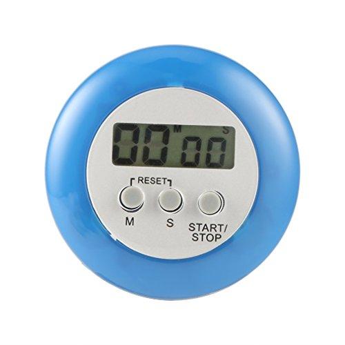 YLWL Nouveau Mignon Mini Rond LCD Cuisson numérique Maison Cuisine Compte à rebours UP minuterie Alarme Bleu