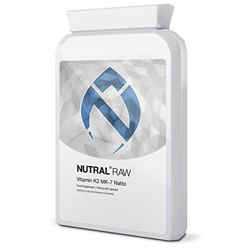 Vitamin K2 MK7 Natto 100mcg 60 Caps by Nutral RAW - Max Strength 60 Vegan Capsules