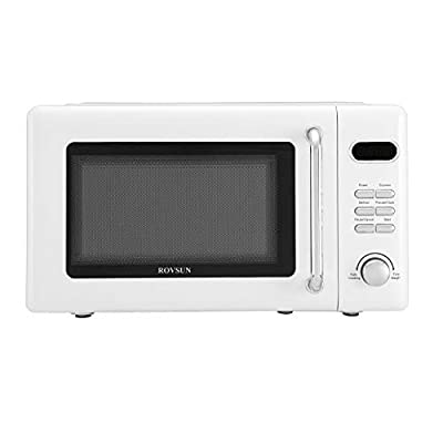 ROVSUN 0.7 Cu.ft Retro Countertop Microwave Oven, 700W, 5 Micro Power, Auto Cooking & Delayed Start Function, with Glass Turntable, Viewing Window, Child Lock, ETL Certificated (White)