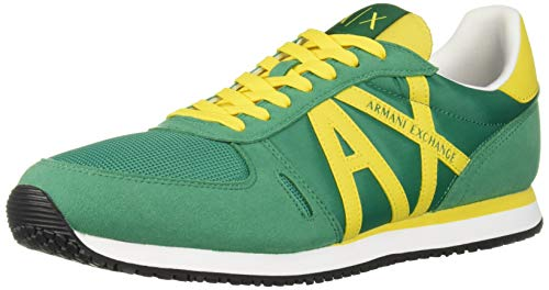 A|X Armani Exchange Herren Lace Up Sneaker with Logo Turnschuh, Ultra Marine + Lemon, 43 EU