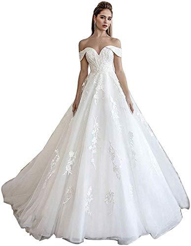 Meganbridal Women's Lace Train Wedding Dress for Bride Aline Applique Bridal Gown Long Tulle Off Shoulder Strapless White