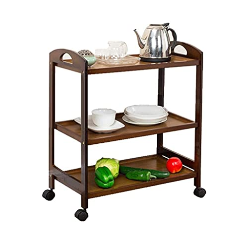 GAXQFEI Foyer Rack 3-Tier Kitchen Utility Cart, Multipurpose Wooden Shelves with Wheels and Handles for Tea Shops Reception Room Balcony for Storage,B,33 * 60 * 73Cm