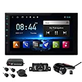 EinCar Android Auto Double Din Car Stereo with Backup Camera carplay Stereo 7Inch HD Screen GPS Navigation Bluetooth Android 10 System 4 Core 2G+32G USB/TF FM with Backup Camera+DVR In-Dash Navigation