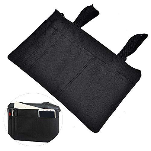 Armlehnentasche Wasserdichte, starke, haltbare, hängende Armlehnen-Organizer für Mobilitätsroller Rollstuhl-Shopping-Reisetasche(Schwarz)