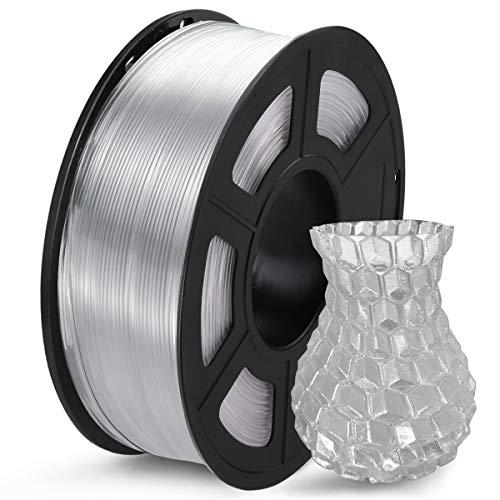 SUNLU Filamento PETG 1.75mm 1kg Impresora 3D Filamento, Precisión Dimensional +/- 0.02 mm, PETG Transparente