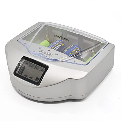 FISHTEC Caricatore di Pile Universale AA/LR6, AAA/LR3, C/LR14, D/LR20, 9V, NiCd e NiMh + ALCALINE - Schermo LCD con Indicatore di Carica - Capacità 4 Pile