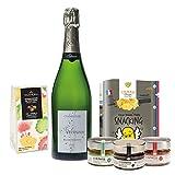 coffret champagne apéro et chocolat - coffret cadeau gastronomie - champagne brut, trio d'apéro bio