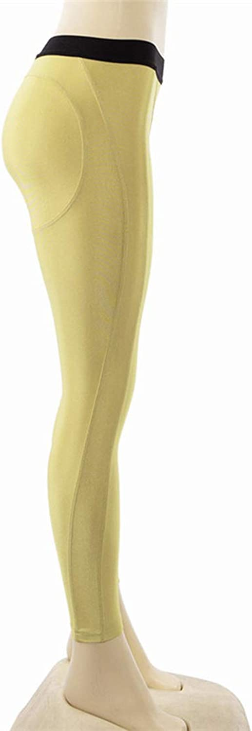 KEVIN POOLE Yoga Pants Women's Hips Leggings for Running Pants Women (color   Yellow, Size   L)