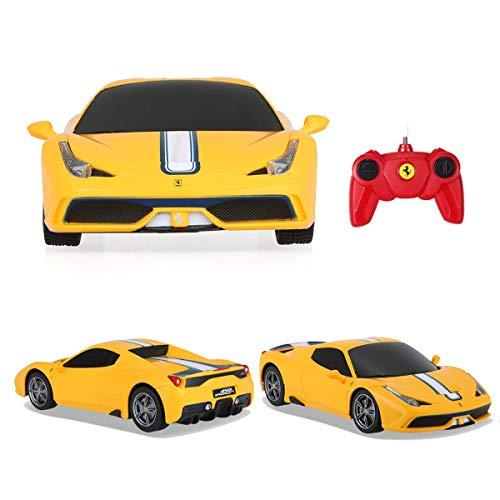 Max Solutions Autos con mando a distancia LaFerrari 1:24 con licencia oficial – Puertas de apertura – Luces de trabajo – La Ferrari Eléctrica Radio Controlado RC Coche listo para funcionar (amarillo)
