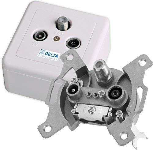 DCT Delta SAT-Dose 950-2400 MHz, 3 Ausgänge, DC Pass, inkl. AP-Rahmen + Abdeckplatte f. 3-Loch Antennendose, Stichleitungsdose, Antennendose