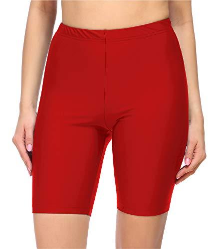 Merry Style Damen Lange Badeshorts Kurze Leggings MS10-333(Rot,42)
