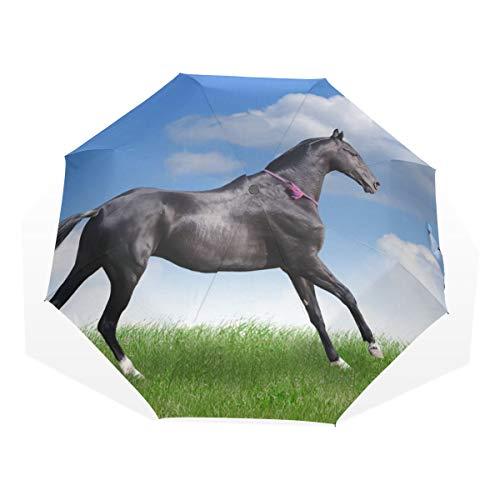 XiangHeFu Paraplu Paard Running Gallop Op Het Veld 3 Vouwt Lichtgewicht Anti-UV