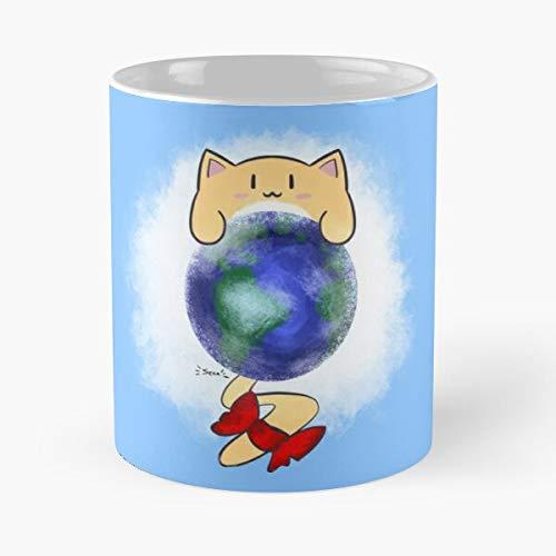 Kawaii Day - Taza de café de cerámica con diseño de gato de la Tierra, adorable, con texto en inglés 'Comer mordedura'