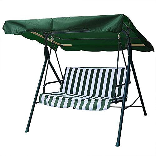 legendary-Yes 76x44 Inch Deluxe Outdoor Swing Chair Canopy Top Cover Replacement UV30+ 180gsm Porch Swing Top Cover for Patio Swing Yard Seat Cushion Green