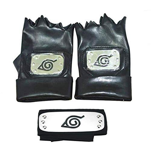 Jebester Naruto Stirnband, Blatt-Dorf, Kopfband und Cosplay-Handschuhe Hatake Kakashi Ninja Cosplay Zubehör