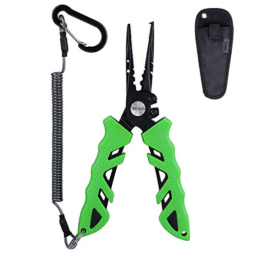 RUNCL Fishing Pliers S1, Needle Nose Pliers - Braid Cutter, Hook Remover, Split Ring Opener, Weights Crimper, Bait/Weight Tuner, Fish Gripper - Kayak Fishing Ice Fishing Saltwater & Freshwater (Green)