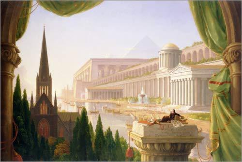 Poster 60 x 40 cm: Architektentraum von Thomas Cole - hochwertiger Kunstdruck, neues Kunstposter