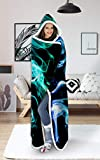 uideazone Sherpa Fleece Throw Blanket Men Women Blue Smoke Printed Plush Fuzzy Hooded Blanket Home Sofa Winter Super Soft Lightweight for Office Couch Bed Room Winter Spring