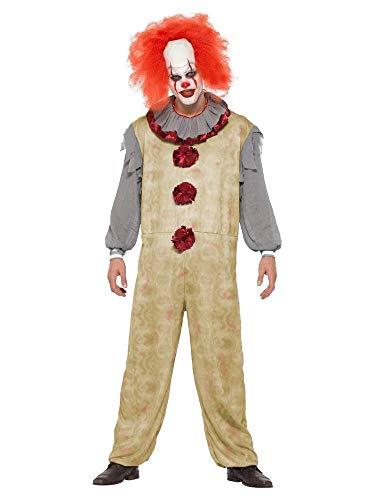 shoperama Herren-Kostüm Vintage Clown Geist Killer Pennywise Halloween gruselig Horror Es Mörder gruselig Overall, Größe:L