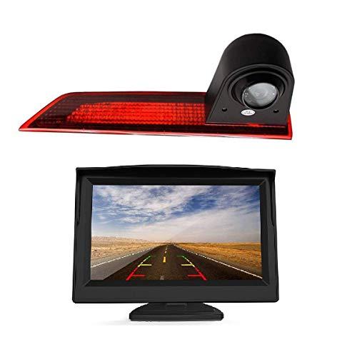HD 720P Rückfahrkamera für Ford Transit Custom V362 2012-2020, 3. Bremsleuchte Rückfahrkamera Kit mit (5 Zoll) LCD-Monitor, Wasserdicht, Nachtsicht rueckfahrkamera