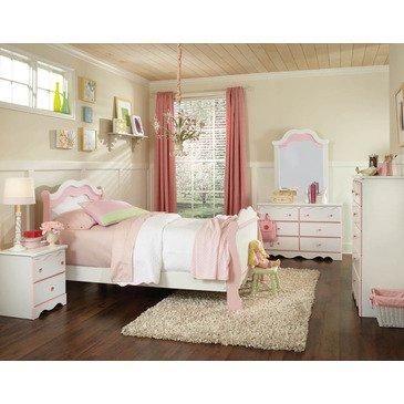 Hot Sale Standard Furniture Bubblegum 5 Piece Sleigh Bedroom Set In White & Pink