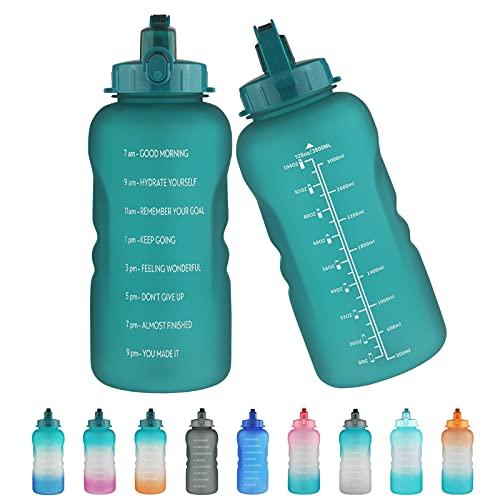 Justfwater Bottiglia d'acqua senza BPA con indicatore del tempo e cannuccia, borraccia sportiva da 3,78 L con manico per Palestra, Casa, Ufficio, Attività All'aperto