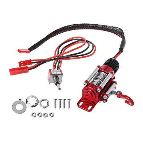 EAPTS RC Car Winch with Switch, 1:10 RC Scale Electric Metal Winch RC Rock Crawler Winch for Axial SCX10 4WD D90 RC Car RC Model Vehicle