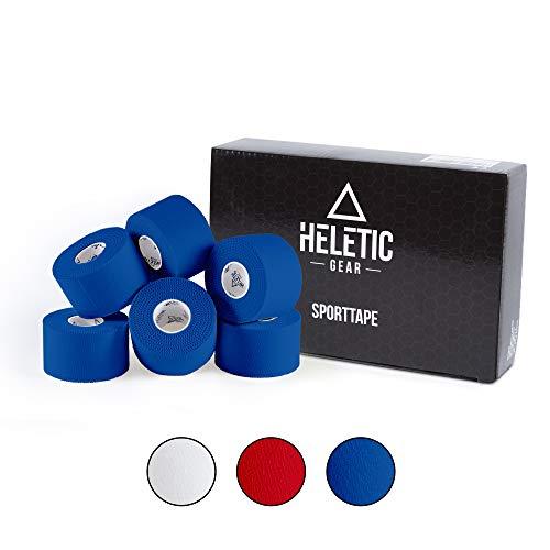 Heletic Sporttape 6 Rollen 3,8cm x 10m blau - Tape aus 100% Baumwollgewebe mit extra starker Klebkraft, leicht abreißbar & wasserabweisend (Blau)