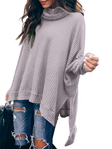 Caracilia Womens Sweaters Casual Batwing Sleeve Cozy Cowl Neck High Low Long Waffle Knit Tunic Blouse Tops C8A3-danzi-L Lavender