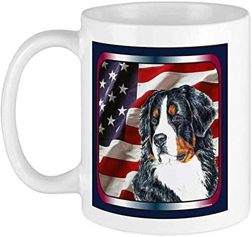 Tasse mit Berner Sennenh&, 400 ml, für Mikrowelle & Spülmaschine geeignet, Berner Sennenh&, weiß-Bernesischer Sennenh&, Flagge USA