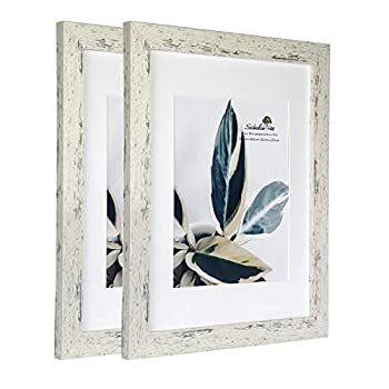 Rustic White Wooden Picture Frame with Mat  11x14 inches 2P