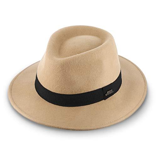 fiebig Sombrero de fieltro de lana Purley Fedora, clsico sombrero de fieltro con banda interior ajustable y banda de grogrn, clsico fabricado en Italia beige 62