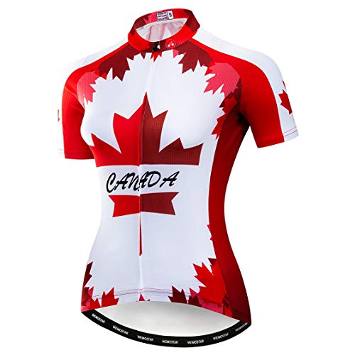 weimostar Cycling Jersey Women Mountain Bike jersey Shirts Short Sleeve Road Bicycle Clothing MTB Tops Summer Outdoor Sports Wear Canada red Size XL