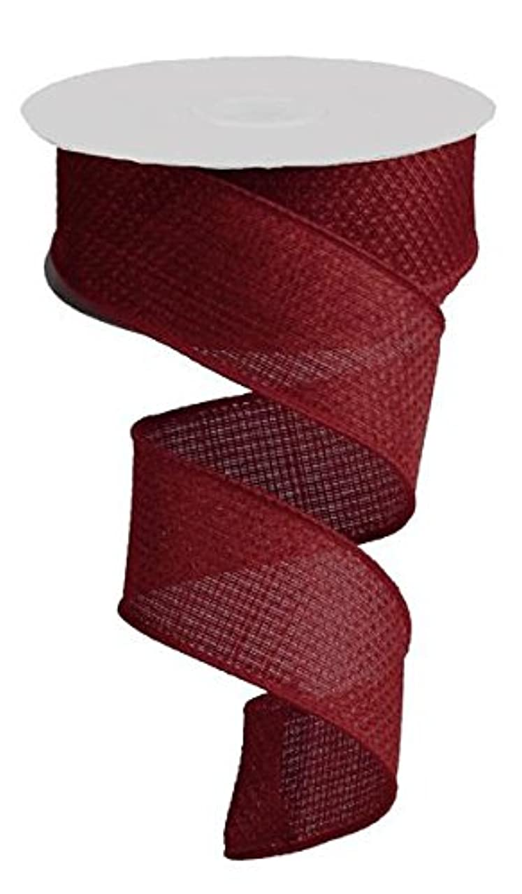 Burgundy Solid Cross Royal Burlap Wired Edge Ribbon - 1.5
