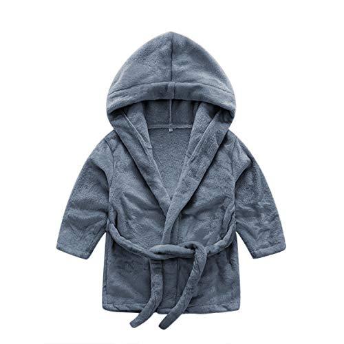 DEBAIJIA Säugling Bademantel 0-14T Baby Hausmantel Kleinkind Handtuch Robe Kinder Morgenmantel Pyjama Unisex Mädchen Junge (Dunkelgrau-90)