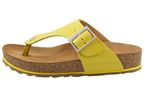 HAFLINGER 819018-0 Bio Conny Damen Pantoletten Zehentrenner Clogs, Größe:40 EU, Farbe:Gelb