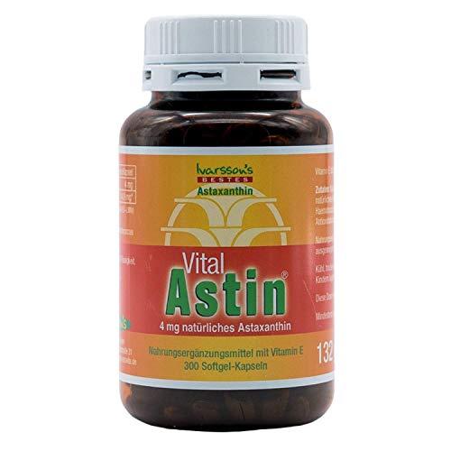 VitalAstin Astaxanthin 300 Kapseln I Das Original - Ivarssons VitalAstin mit 4 mg natürlichem Astaxanthin I Zellschutz I versandkostenfrei