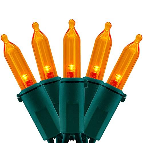 UL Certified Orange LED Christmas String Lights, 66 Feet 200 LED Commercial Grade Amber Christmas Light Set, Connectable Home Decor Lights for Patio Garden Halloween Holiday (Orange)