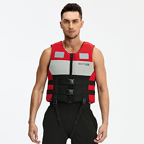 MYAOU Chaleco Salvavidas Flotante, Chaleco Salvavidas de Seguridad para Adultos/niños, Chaleco para esnórquel, Ayuda a la flotabilidad Ajustable para canotaje, Kayak, piragüismo, natación,XL