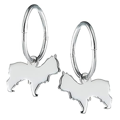 Pendientes de aro de plata de ley Yorkshire Terrier por MYLEE London