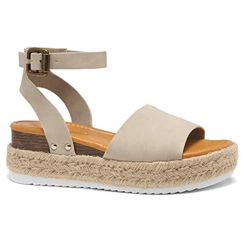 Shoe Land Legossa Womens Open Toe Ankle Strap Platform Shoes Casual Espadrilles Trim Flatform Studded Wedge Sandals 1825/Beige 100