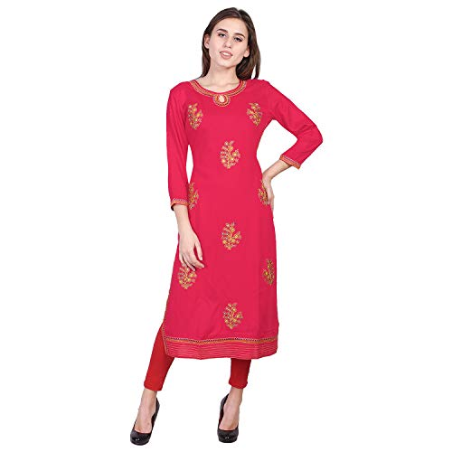 VIHAAN IMPEX Rayon Straight Embroidered Mirror Work Printed Kurtis For Women Tunic Tops XX-Large Pink
