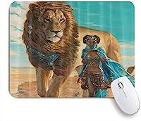 ZOMOY マウスパッド 個性的 おしゃれ 柔軟 かわいい ゴム製裏面 ゲーミングマウスパッド PC ノートパソコン オフィス用 デスクマット 滑り止め 耐久性が良い おもしろいパターン (アフリカの女性とライオン)