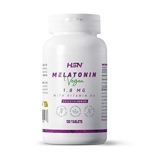 Melatonina 1,8mg de HSN | Para Dormir Mejor + Mejorar el Sueño + Descanso por la noche + Combate los trastornos del Sueño, Estrés y Fatiga, Jet Lag | Vegano, Sin Gluten, Sin Lactosa, 120 Tabletas