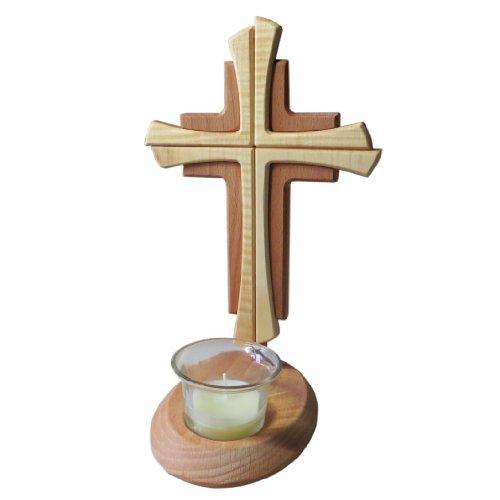 Kaltner Präsente Geschenkidee - Echtes Holz Buche Kreuz Kruzifix mit Teelicht 25 cm modern