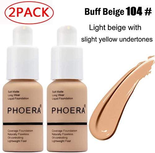 2 Pack Phoera foundation Brighten Highlighting Matte Oil Control Concealer Facial Blemish Concealer product image